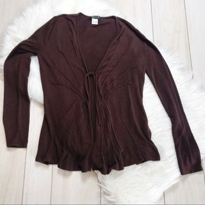 Venus Brown Fit & Flare Tie-Front Cardigan Sweater